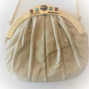 Judith Leiber Jeweled Karung Snakeskin Clutch Bag